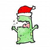 cartoon frog wearing christmas hat
