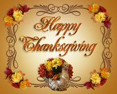 image of happy thanksgiving  - Image and Illustration composition for Thanksgiving card invitation Fall flowers border - JPG