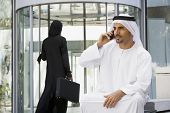 Middle Eastern Business With Man On Cell Phone
