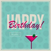 Birthday card for woman with cocktail drink