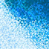 Abstract Lights Blue White Winter Sky Or Snow Background. Pixel Mosaic Vector