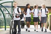 stock photo of tweenie  - Students leaving school one with a bicycle - JPG
