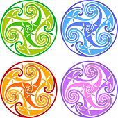 picture of triskele  - Colored isolated vector celtic triskels - JPG