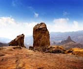 Gran canaria Roque Nublo Tejeda blue sky in canary Islands