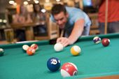 foto of hair integrations  - Man playing pool - JPG