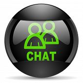 chat round black web icon on white background