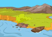 Lake Shore. Cartoon Background. Vector Illustration EPS 10.