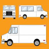 picture of food truck  - Front and side views of a plain white food truck - JPG