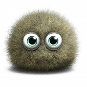foto of hairy  - 3 d cartoon cute furry ball monster toy - JPG