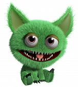 image of gremlins  - 3 d cartoon cute green gremlin monster - JPG