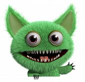 stock photo of gremlins  - 3 d cartoon cute green gremlin monster - JPG