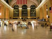 stock photo of amtrak  - Grand Central Terminal late night with some computers walking on it - JPG