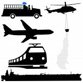 Oil Tanker And Helicopter Silhouettes