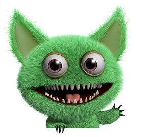 stock photo of gremlins  - 3 d cartoon cute green gremlin monster - JPG