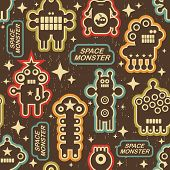 Vintage seamless texture with monsters.
