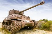 image of ww2  - old and rusty sherman tank from ww2 - JPG