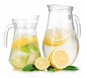 stock photo of pitcher  - Cold water with lime - JPG