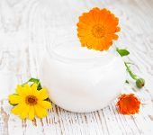 Face Cream And Calendula Flowers