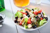 Diet And Healthy Mediterranean Salad