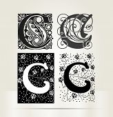 Vector ornamental letter C sign alphabet and logo