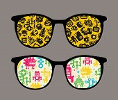Retro sunglasses with robot pattern reflection.