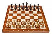picture of battlefield  - chess pieces placed on board isolated on white background - JPG