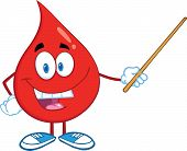 Red Blood Drop Character Holding A Pointer