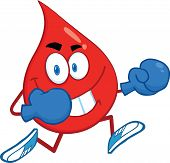 Red Blood Drop Running With Boxing Gloves