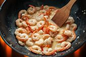 shrimps in wok close up
