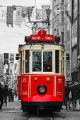 Old-fashioned Red Tram At The Street Of Istanbul