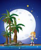 Ilustración de una chica en la playa bajo la brillante luna llena