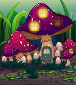 Illustration of a purple mushroom house