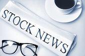 Stock News word on newspaper
