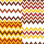 Abstract geometric colorful ethnic seamless patterns set in red white and yellow, vector