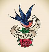Old-school styled tattoo with a swallow, banner and rose. Raster image. Check my portfolio for an ed