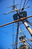 Sailing Ship Rigging And Blue Sky