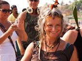 An Unidentified Woman - A Hippie At The Annual Festival Arambol beach Goa India February 5 2013.