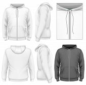 Photo-realistic vector illustration. Men's zip hoodie design template (front view, back and side vie