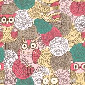 Bright pattern made of ranunculus flowers and cartoon owls in vector. Seamless pattern can be used f