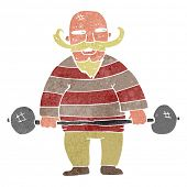 retro cartoon circus strongman