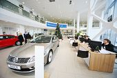 MOSCOW - JAN 11: Cars and a consultants on workplaces in Volkswagen Varshavka Center on January 11,