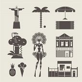 foto of brazilian carnival  - Vector set of various stylized brazilian icons - JPG
