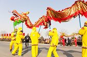 YU COUNTY CHINA FEBRUARY 5: People performing traditional dragon dance for celebrating Lantern Festi