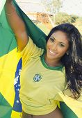 image of thong  - Happy smiling Brazil soccer football fan - JPG