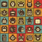 stock photo of nano  - Robot and monsters cell seamless background in retro style - JPG