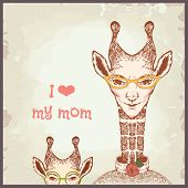 Happy mothers day cards vintage retro, giraffe