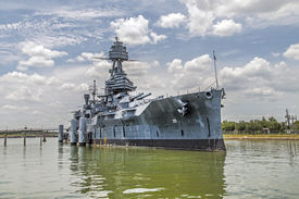 stock photo of battleship  - The Famous historic Dreadnought Battleship in Texas - JPG