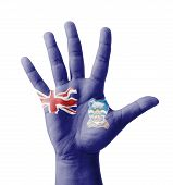 Open Hand Raised, Multi Purpose Concept, Falkland Islands Flag Painted - Isolated On White Backgroun
