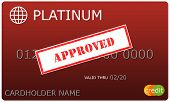 Platinum Red Credit Card With Approved Sticker