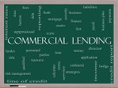 image of lien  - Commercial Lending Word Cloud Concept on a Blackboard with great terms such as loan fees business plan and more - JPG